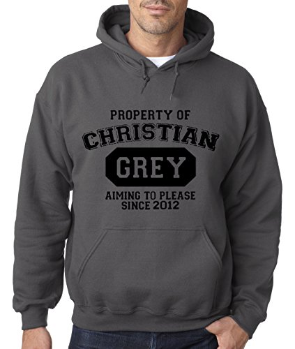 New Way 714 - Hoodie PROPERTY OF CHRISTIAN GREY 50 SHADES OF GREY Unisex Pullover Sweatshirt Large - Women's Clothing Shades