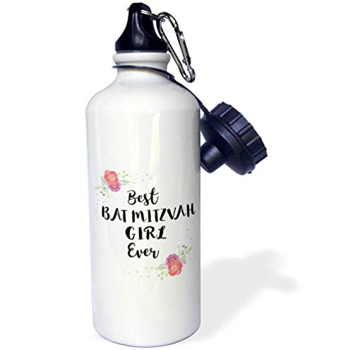 - 3dRose InspirationzStore - Love Series - Floral Best Bat Mitzvah Girl Ever Pink Flowers Cute Batmitzvah Gift - Flip Straw 21oz Water Bottle (wb_316142_2)