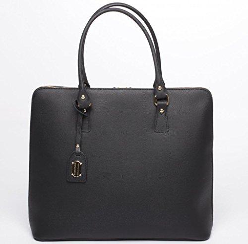 JOSYBAG Ledertasche BOSTON - schwarz - handgefertigt Tasche mit 2 Handgriffen Schultertasche Arbeitstasche black