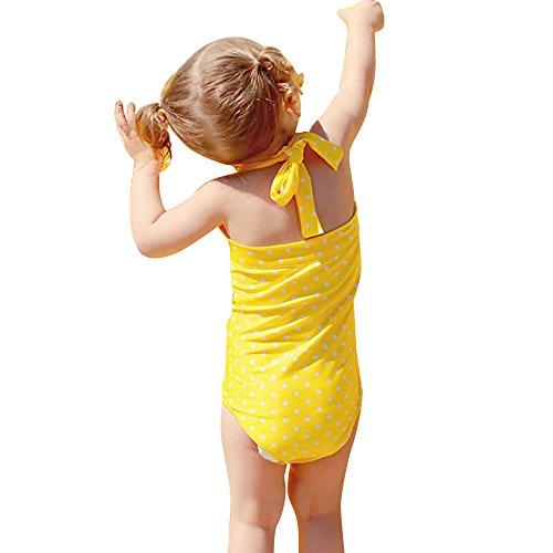 Ans Point Maillot Swimsuit Sling Une Halter Nu Mignon Tenue 2 De Manches Dos Fille Plage Combinaison Sans Wave Natation Enfant Bain Pièce Vacances 12 7wz7gx