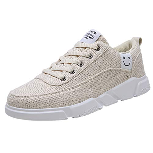 - Men Sport Shoes 2019 Summer Linen Non-Slip Breathable Running Resistant Sneakers (US:7, Beige)