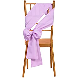 VEEYOO 10 Pieces 6x108 inch Polyester Chair Sash Bows Ribbon Cover for Restaurant Kitchen Dining Wedding Party, Lavender