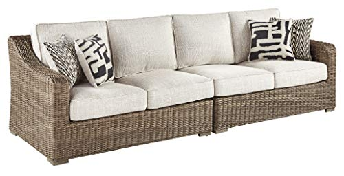 Ashley Furniture Signature Design – Beachcroft Outdoor Loveseat Set – Left & Right Arm Facing Loveseats with Cushions – Beige