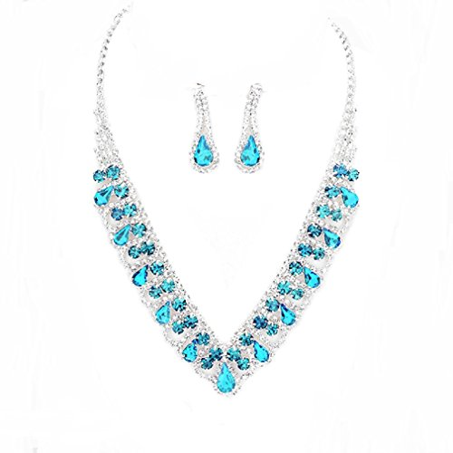 Elegant Aqua Blue Clear Crystal Rhinestone Silver Necklace Jewelry Earrings Set Prom Bride Pageant