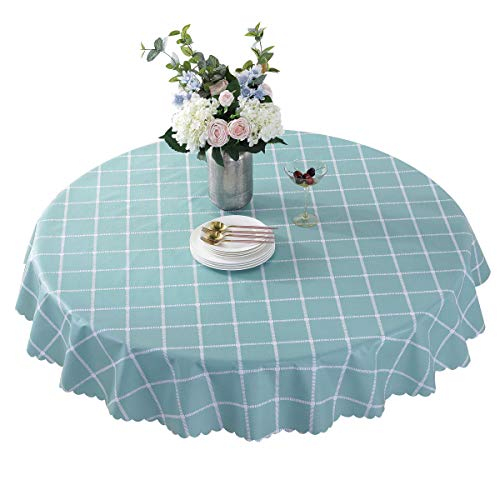 Vinyl Oilcloth Round Tablecloth Waterproof PVC Plastic Spillproof Peva Heavy Duty Farm Oil Proof Wipeable Tablecloth for Luau Teal Grid 70 Inch