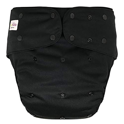 Cloth Diaper Cover - Reusable Special Needs Incontinence Briefs for Big Kids, Teens and Adults (Black, Regular)