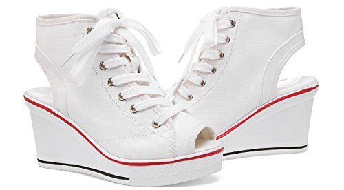 ACE SHOCK Wedges Sandals Women, Peep-Toe Summer Casual Platform Canvas Sneakers 2 Colors White