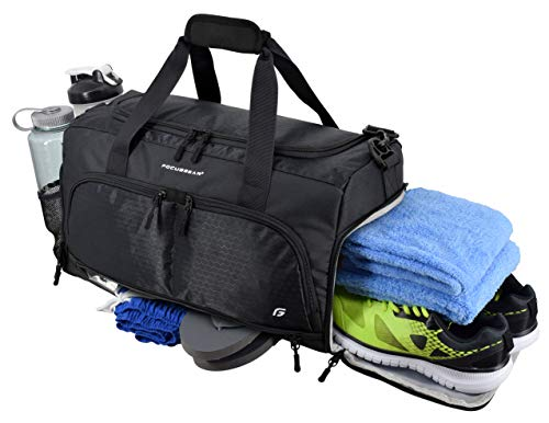 "Ultimate Gym Bag 2.0: The Durable Crowdsource Designed Duffel Bag with 10 Optimal Compartments Including Water Resistant Pouch (Black, Medium (20""))"