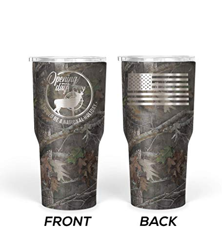 Thomas And Son Designs Stainless Steel Travel Mug - Deer Camo Double Wall Insulated 30 Oz Tumbler - Hot Beverage Travel Mug - Hunting Gifts For Men And Birthday Gifts For Men