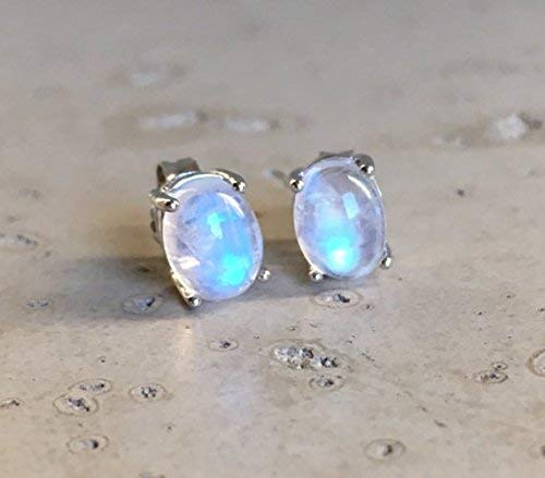 Genuine Moonstone Oval Stud Earring