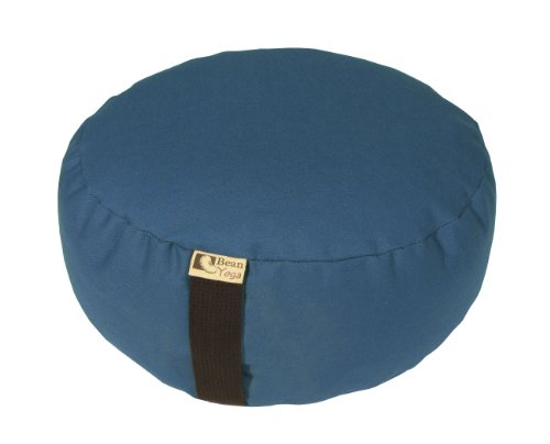 Zafu Yoga Meditation Cushion Organic Buckwheat Fill - 16 COLORS - 10oz. Cotton, Made In USA, by Bean Products Medium Blue