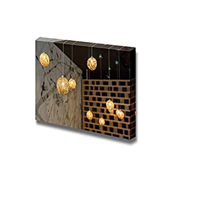 Canvas Prints Wall Art - Ceiling Lamp with Gold Light - 16