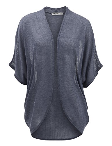 Short Sleeve Open Knit - WSK1528 Womens Short Sleeve Open-Front Batwing Cardigan - Made in USA M Navy