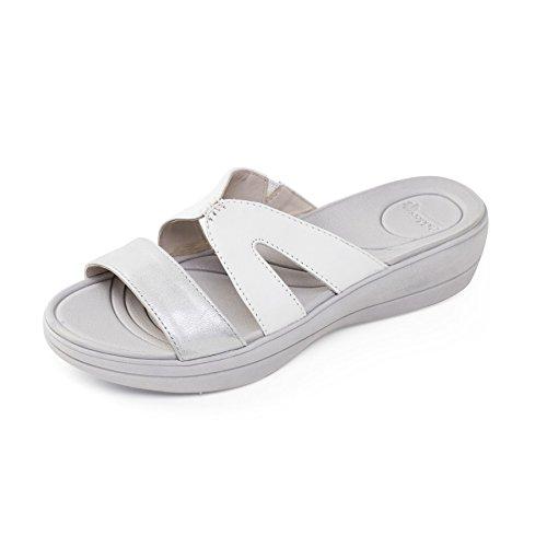 Extra Larghezza Donne Sandalo Pelle Di Ee Argento Calzascarpe Charlie Libero Grande Padders Bianco 4wpaqx6