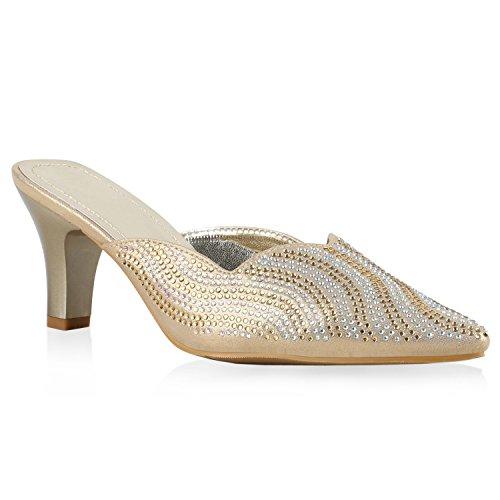 Stiefelparadies Damen Übergrössen Pantoletten Party Sandaletten Strass Glitzer Abend Schuhe Flandell Gold