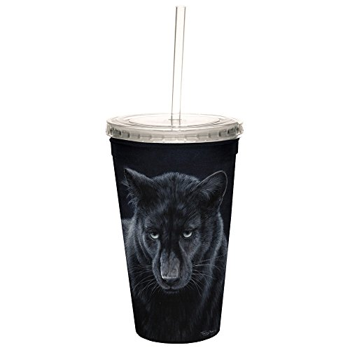 Tree-Free Greetings CC35698 Cool Cups, Double-Walled Pba Free with Straw and Lid Travel Insulated Tumbler, 16 Ounces, Black - Black Glasses Panther