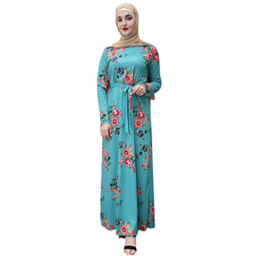 HYIRI Muslim Women's Modest Breathable Puff Sleeve Long Robe Kaftan Clothes Blue -