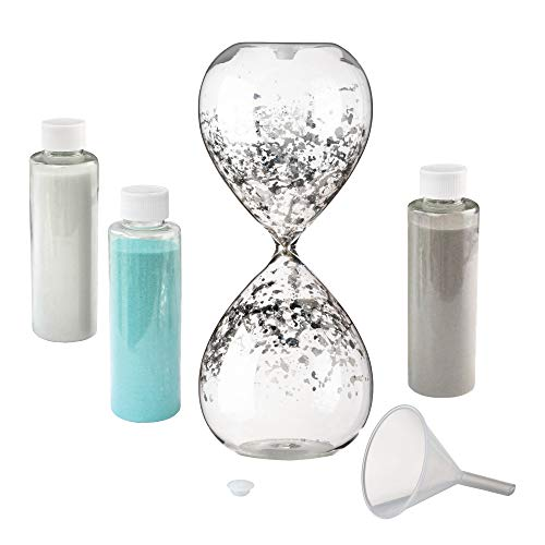 Lillian Rose AZ350001 Hourglass Wedding Unity Sand Ceremony Set, 3.25x3.25x8.25, Clear