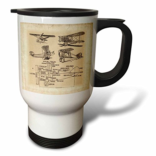 3dRose Early 1900s Sketch of Airplanes Travel Mug, 14-Ounce