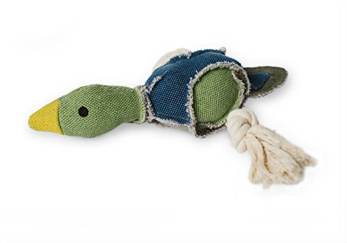 Party Fowl Canvas and Rope Squeaky Dog Toy for Large and Medium Dogs, 2 Squeakers Inside - Fetch Pet Products (Duck)