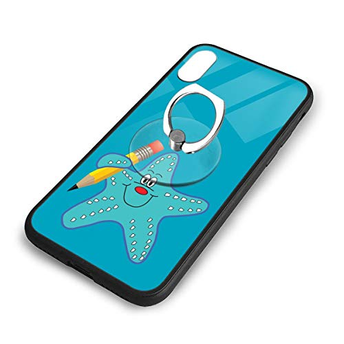 iPhone X Plus Cover Starfish Pencil Case with Finger Ring Stand XS Phone Kickstand Holder Shock Protective Basic Protector]()