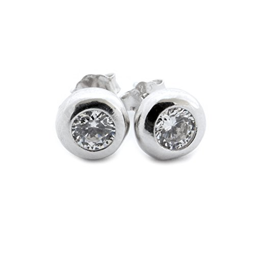 Set Bezel Plated - Solid Sterling Silver Rhodium Plated Bezel Set Cubic Zirconia Stud Earrings