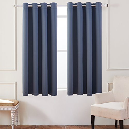 KEQIAOSUOCAI Flame Retardant/Resistant Blackout Room Darkening 250GSM Thermal Insulated Grommet Curtain for Bedroom Living Room 1 Panel(Dusty Blue,52Wx63L) Flame Retardant Curtains