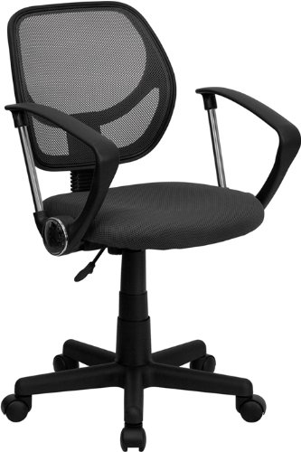 Flash Furniture Mid-Back Gray Mesh Swivel Task Chair with Arms by Flash Furniture