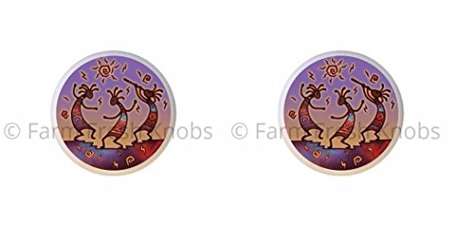 SET OF 2 KNOBS - Kokopelli Design #011 - Kokopelli Flute God - DECORATIVE Glossy CERAMIC Cupboard Cabinet PULLS Dresser Drawer (Kokopelli Cabinet Knob)