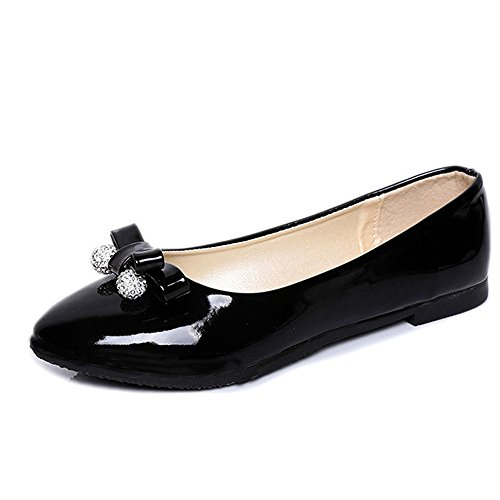 Women On Faux Dolly Pumps Slip Shoes Comfortable Patent Shoes Ballerina Flat Office Rhinestones Leather Black Loafers r7arvwtq
