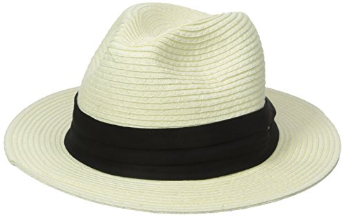 - SCALA Men's Paper Braid Safari with Black Band, Ivory, Large