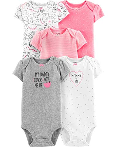 (Carter's Baby Girls 5 Pack Bodysuit Set, Dinosaurs, 6 Months )