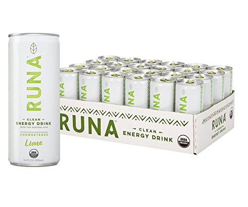 RUNA Organic Clean Energy Drink from the Guayusa Leaf, Unsweetened Lime, 8.4 Ounce (Pack of 24)
