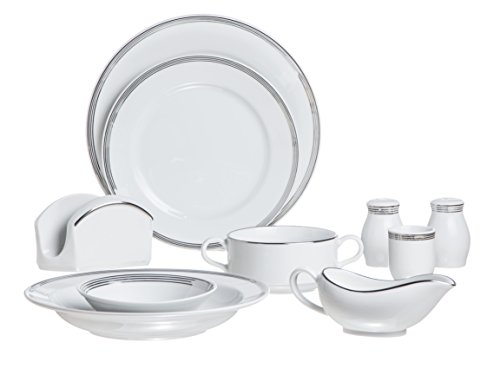 Silver Thread 35 Pieces Dinnerware Set From Real White Porcelain, Silver Decorated, Hand Painted, Service For 6 Persons