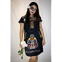 """Vestido Negro/Blanco con bordado artesanal multicolor y bolsillos""""Alina"""""""
