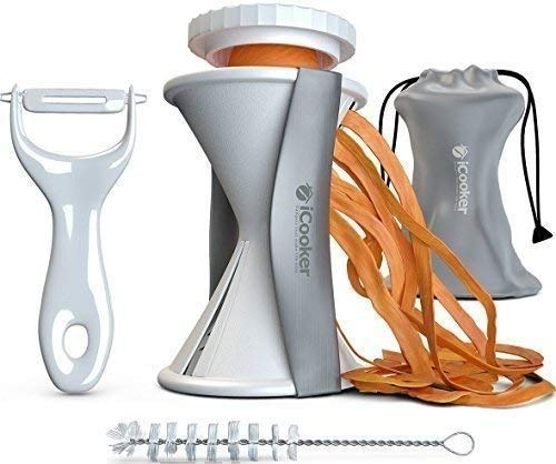 Spiral Slicer Vegetable Spiralizer + FREE Cleaning Brush Peeler and Recipe Book - Veggie Cutter Zucchini Pasta Maker