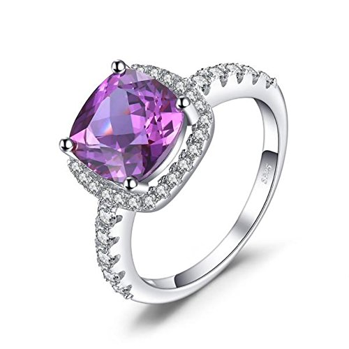 Vera Nova Jewelry Exquisite 5.35ct Cushion Cut Lab-Created Alexandrite 925 Sterling Silver Ring