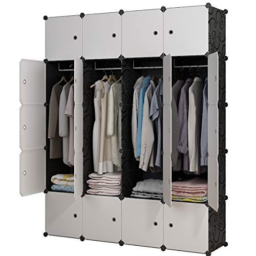 KOUSI Portable Closet Clothes Wardrobe Bedroom Armoire Storage Organizer with Doors, Capacious & Sturdy, Black, 8 Cubes+4 Hanging Sections -