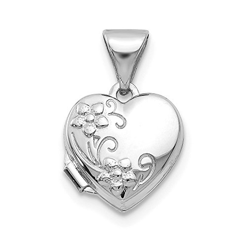 - 14k White Gold Heart Shaped Floral Photo Pendant Charm Locket Chain Necklace That Holds Pictures Fine Jewelry Gifts For Women For Her