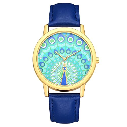 BEUU 2018 Peacock Dial Leather Strap Watch New Wholesale Price Luxury Fashion Band Analog Quartz Round Wrist Watches Watch Wristwatch Fashion Watches Quartz Men Women Men'S Jewelry (D)