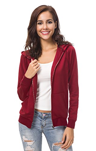 Urban CoCo Women's Full Zip-up Hooded Sweatshirt Long Sleeve Casual Hoodie Jacket (L, Wine Red)