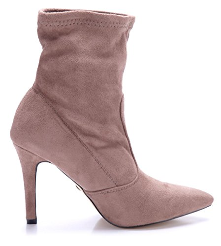 Schuhtempel24 Damen Schuhe Klassische Stiefeletten Stiefel Boots Stiletto 10 cm High Heels Khaki