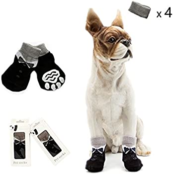 GAVIN LAND  Pet Dog Socks ,Anti-Slip Knit Socks for pets with Traction Soles for Indoor Wear,Paw Protector (XL, Black)