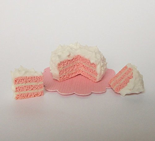1:12 Scale Pink Cake with White Fluffy Icing Set Dollhouse Miniature Doll Food Fairy Garden Dinner Lunch Meal Dessert