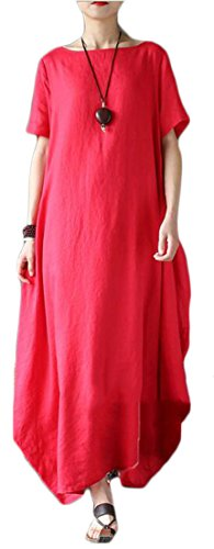 Sleeve Swing Neck Cromoncent Style Maxi Ethnic Linen Womens Dress Red Short Round Casual nArA048W