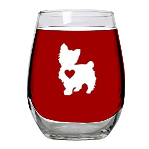 Yorkie Gifts- Wine Glass Stemless Large 15oz - Unique Gift Idea for Yorkshire Terrier Lovers, Women, Dogs 1