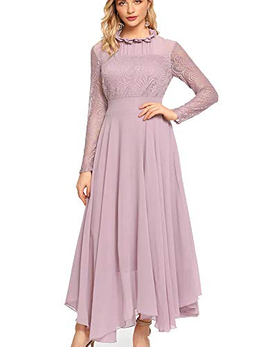 Aofur Women's Long Sleeve Chiffon Maxi Dresses Casual Floral Lace Evening Cocktail Party Long Dress (Large, Light Purple)