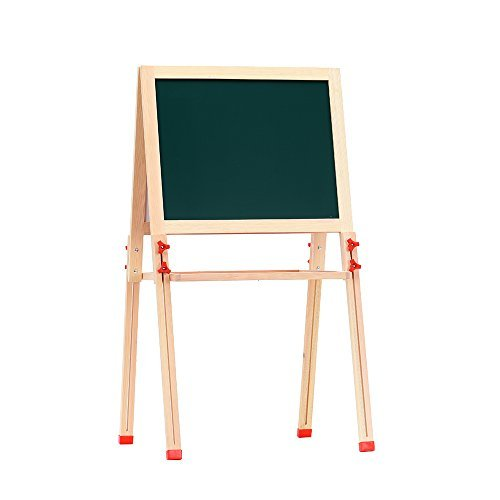 """LINAZI Easel For Kids .Double Sided Magnetic Drawing Boardl for Toddlers,Magnetic Chalk Board & Magnetic Dry Erase Board 【Height Adjustable】【Storage trays And Accessories】(S=42 1/2"""")"""