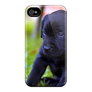 For Iphone 4/4s Premium Tpu Case Cover Black Labs Protective Case