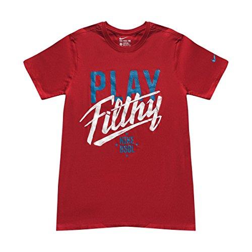 Nike Männer Nike läuft dieses Grafik T-Shirt Universität Rot / Weiß / Blaue Lagune